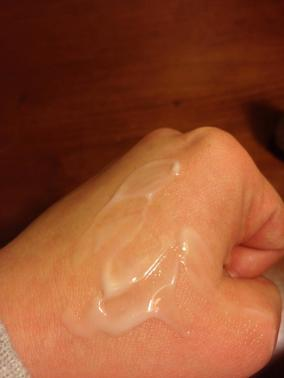 When you begin to massage the serum in, it has a more clear consistency